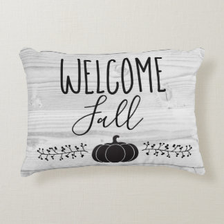 Rustic Gray Wood Welcome Fall Pumpkin Accent Pillow
