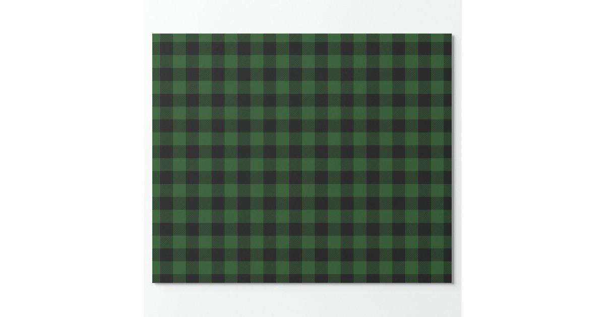 Rustic Green and Black Buffalo Check Wrapping Paper | Zazzle