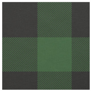 Rustic Green and Black Buffalo Plaid Fabric