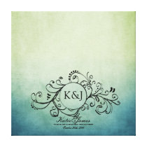 Rustic Green and Blue Bohemian Guest Book Canvas