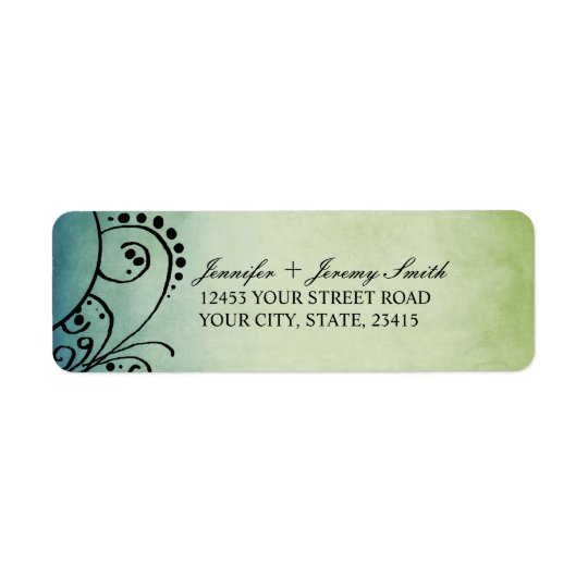 Rustic Green and Blue Bohemian Return Address Label
