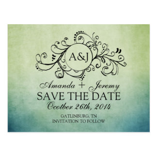 Rustic Green and Blue Bohemian Save The Date Post Card