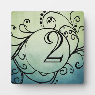 Rustic Green and Blue Bohemian Table Number Display Plaques