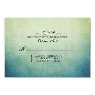 Rustic Green and Blue Bohemian Wedding RSVP Personalized Invite