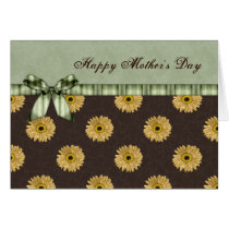 Rustic , green and brown sunflowers mothers day card