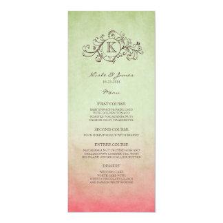 Rustic Green and Pink Bohemian Wedding Menu Personalized Invitation