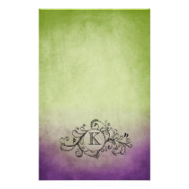Rustic Green and Purple Bohemian  Flourish Stationery