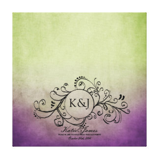 Rustic Green and Purple Bohemian Guest Book Canvas Canvas Print