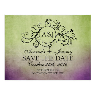 Rustic Green and Purple Bohemian Save The Date Post Cards