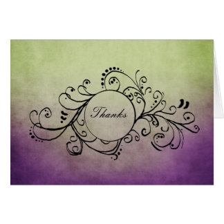 Rustic Green and Purple Bohemian Thank You Note Card