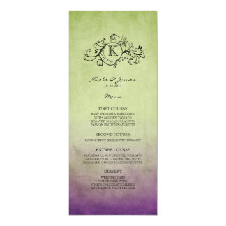 Rustic Green and Purple Bohemian Wedding Menu Card
