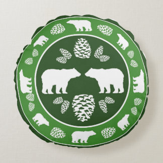 Rustic green bear pinecone round pillow