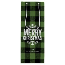 Rustic Green Buffalo Check Personalized Christmas Wine Gift Bag