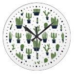 Rustic Green Cactus Desert Pattern Large Clock