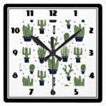 Rustic Green Cactus Desert Pattern Square Wall Clock