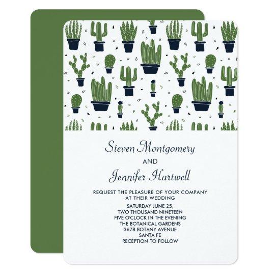 Rustic Green Cactus In Flower Pots Pattern Wedding Invitation