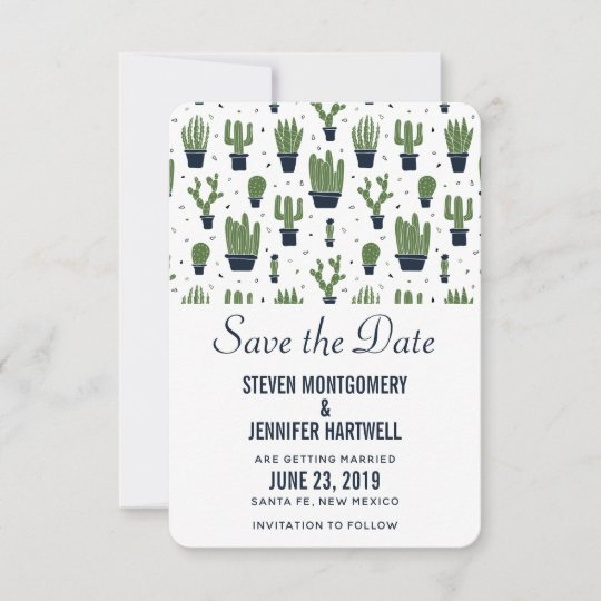 Rustic Green Cactus In Flower Pots Pattern Wedding Save The Date