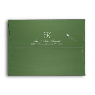 Rustic Green Chalkboard 3d Monogram Envelope