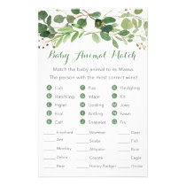 Rustic Green Floral Baby Shower Animal Match Game Flyer