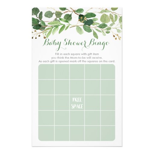Rustic Green Floral Baby Shower Bingo Game Flyer