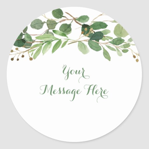 Rustic Green Floral Baby Shower Classic Round Sticker