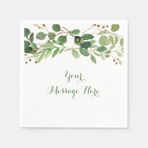 Rustic Green Floral Baby Shower Paper Napkins