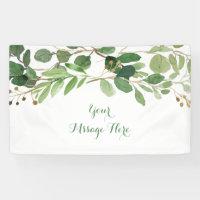 Rustic Green Floral Bridal Shower Banner