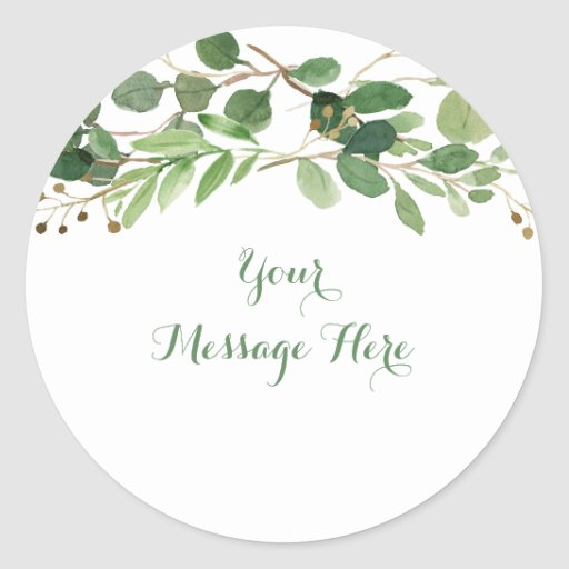 Rustic Green Floral Bridal Shower Classic Round Sticker