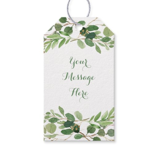 Rustic Green Floral Bridal Shower Gift Tags
