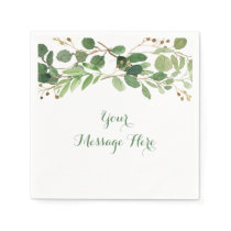 Rustic Green Floral Bridal Shower Napkin
