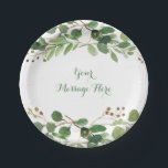 "Rustic Green Floral Bridal Shower Paper Plate<br><div class=""desc"">These elegant labels feature gorgeous green watercolor leaves,  perfect for a spring or summer bridal shower.</div>"