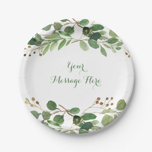 Rustic Green Floral Bridal Shower Paper Plate
