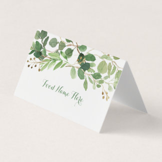 Rustic Green Floral Food Tent Place Card