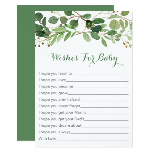 Rustic Green Floral Wishes for Baby Cards