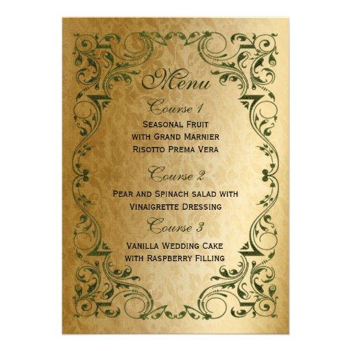 rustic green gold regal wedding menu announcement