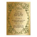 "rustic green gold regal wedding menu 5"" x 7"" invitation card"