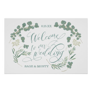 Rustic Green Laurel Leaves Welcome Wedding Poster