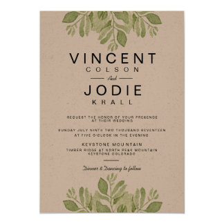 Rustic Green Leaves | Watercolor Wedding Invite