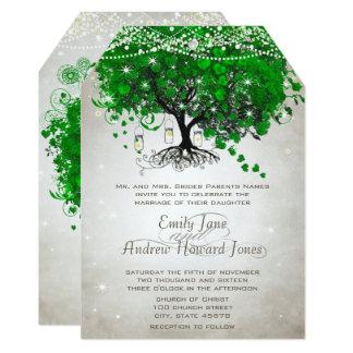 Rustic Green Mason Jar Heart Leaf Tree Wedding Card