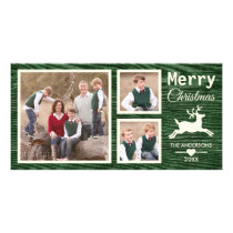 Rustic Green Merry Christmas Reindeer Family Photo Card