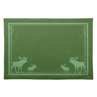 Rustic green moose swirl placemat cloth placemat
