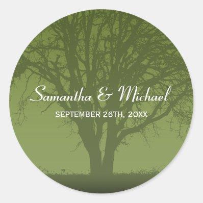 Rustic Green Oak Tree Wedding Favor Label Stickers