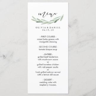 Rustic Green Olive Branch Simple Wedding Menu Card