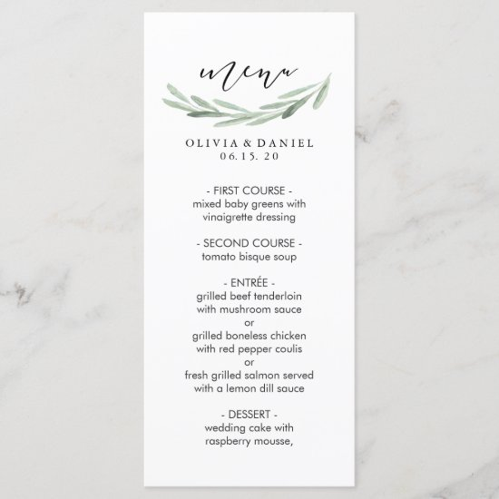 Rustic Green Olive Branch Simple Wedding Menu Card