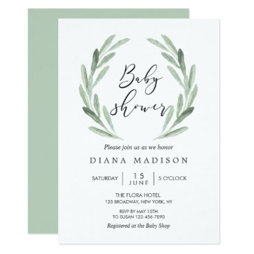Toddler & Baby themed Rustic Green Olive Branch Wreath Baby Shower Card