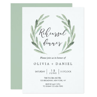 Rustic Green Olive Branch Wreath Rehearsal Dinner Invitation