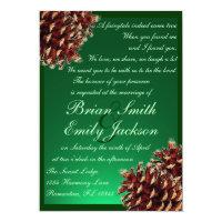 Rustic green pine cone custom wedding invitations