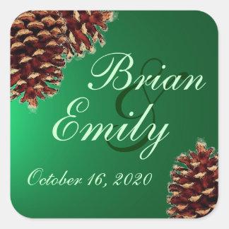 Rustic green pine cone custom wedding labels