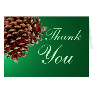 Rustic green pine cone thank you card