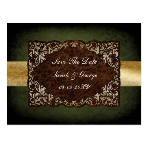 rustic green regal save the date postcard